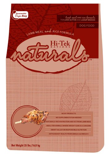 Hi-Tek Naturals Lamb Meal and Rice Formula Dry Dog Food for Less Active and Large Breeds, 35-Pound