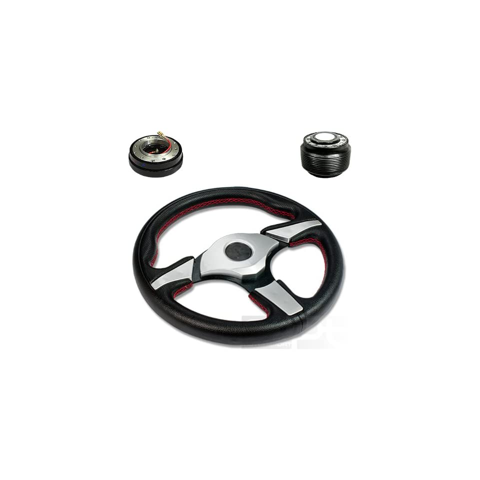 """SW T270+HUB OH106+QL 2, 320mm 12.5"""" Black PVC Leather Silver Trim Black Spoke 6 Hole Racing Aluminum Steering Wheel with OH106 Short Hub Adapter and 2"""" Slim Quick Release with Horn Button Automotive"""