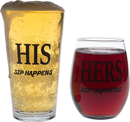 Tirsty His and Hers Glass Set, Sip Happens, 16 oz Pint Glass, 15 oz Stemless Wine Glass, Gift Set for Wedding, Anniversary, Newlyweds and Couples Gifts (Set of 2)