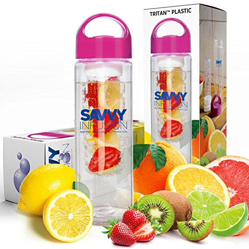 Savvy Infusion Water Bottle - 24 Oz - Create Your Own Naturally Flavored Fruit Infused Water, Juice, Iced Tea, Lemonade & Sparkling Beverages - Choice of Dazzling Colors (Pink)