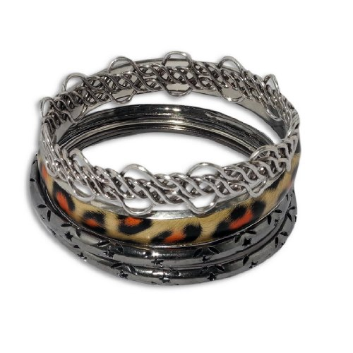 6 PIECE BANGLE SET: Ladies Metal Bangle / Bracelet