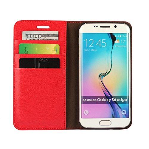 Samsung Galaxy S6 Edge 牛本革 ケース レザー 手帳型 手帳型 財布型 スタンド機能 横置き カード収納3枚 全面保保護 マグネット無し スマートフォン カバー (レッド)