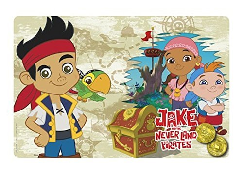 Zak Designs Character Placemats For Kid Children Toddler Meals Cleanup Kitchen Table Picnic Fun Images Popular Disney Cartoon (Jake The Pirate) front-895283