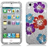 Aimo IPH5PCLDI667 Dazzling Diamond Bling Case for iPhone 5 - Retail Packaging - Flower, Silver