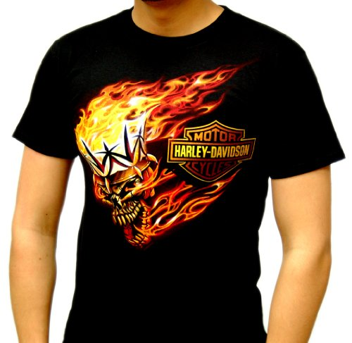 Harley-Davidson Mens King Road Flaming Skull Black Short Sleeve T-Shirt (Large)