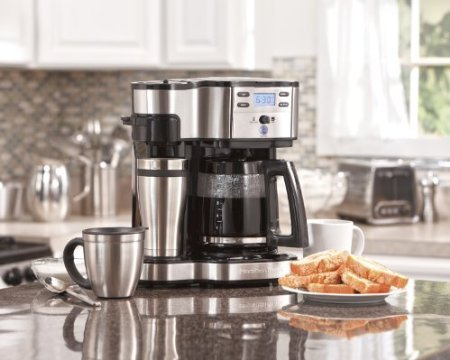Hamilton Beach Two Way Brewer Single Serve and 12 cup Coffee Maker & Free Mini Tool Box (cog)