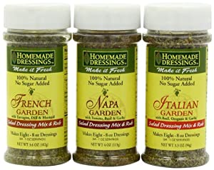 Homemade Dressing Mix Variety Pack (French Garden, Napa Garden & Italian Garden), 3.3 to 4-Ounce Containers