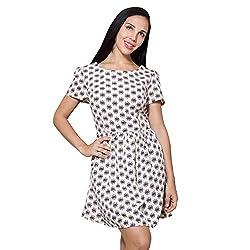 PRAKUM Women's Chiffon Regular Fit Dress Cream color (XX-Large)
