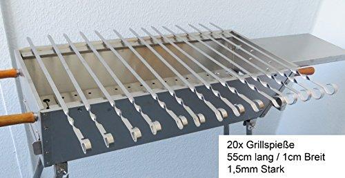 Rukauf Lot de 20piques à brochettes en acier inoxydable de 55cm de long et 1,5mm d'épaisseur