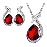 Sannysis Women Crystal Pendant Silver Plated Chain Necklace Stud Earring Jewelry Set (Red)