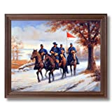 Civil War Blue Soldiers Horses Animal Home Decor Wall Picture Cherry Framed Art Print