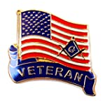 Lapel Pin Masonic USA Flag Veteran Ar...