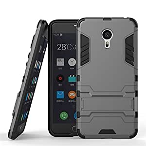 Chevron Meizu M3 Note Shock Proof Hybrid Slim Back Cover Case - [Grey] With Stand [Impact Resistant] - Ultimate Warrior Case [Chevron Infused Technology]