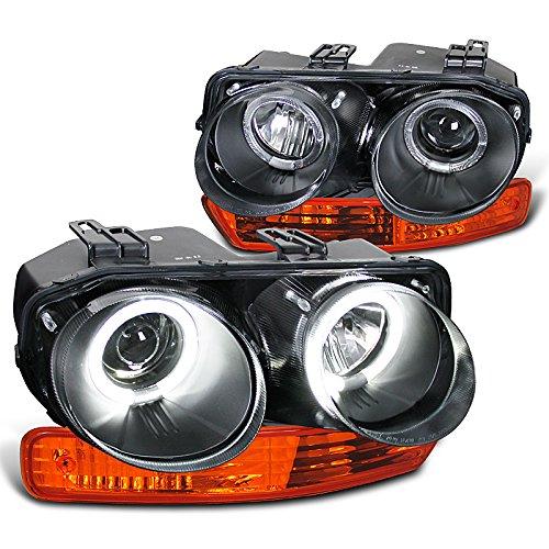 Acura Integra Black Halo Projector Headlights, Amber Bumper Lights (Halo Headlights Integra compare prices)