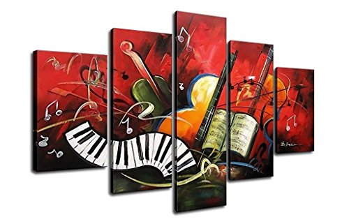 FLY SPRAY 5-Piece Framed 100% Hand Painted Oil Paintings Instruments Reunion Abstract Wall Art Decor Of Home Decoration
