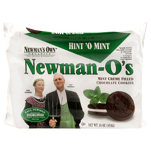 Newman's Own Organics Newman O's, Mint Creme Filled Chocolate Cookies,16-Ounce Packages (Pack of 12)