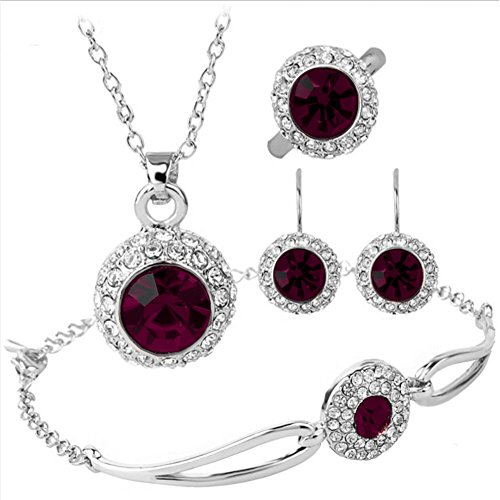 Mother's Day Gift Dark Purple Rhinestone Halo Pendant Necklace Bracelet Earrings Ring Jewelry Set (Earrings And Bracelet Set)
