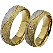 The New Couple Rings 18k Gold Plated Titanium Steel Wedding Rings Engagement Rings Wholesale Cr-027 (5, Women)