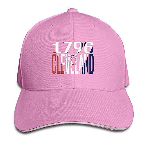 custom-adults-cool-clevelandohio-adjustable-sandwich-hunting-peak-hat-cap-pink