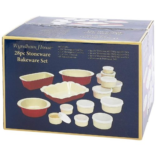 Wyndham House 28pc Red & Cream Ceramic Bakeware