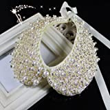 Cream White Faux Pearl & Gold Sequins with Clear Stone False Collar ;Plus a Free Gift Cellphone Anti-dust Plug