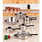 World Finest 7-Ply Steam Control 17pc 304 Surgical Stainless Steel Cookware Set Phenolic Handles