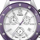 Timex Women's Elevated Classics T2N832 Purple Silicone Analog Quartz Watch with Silver Dial