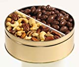 26 oz. 2-way snack tin with Mixed Nuts and Chocolate Covered Almonds from Entrees to Excellence