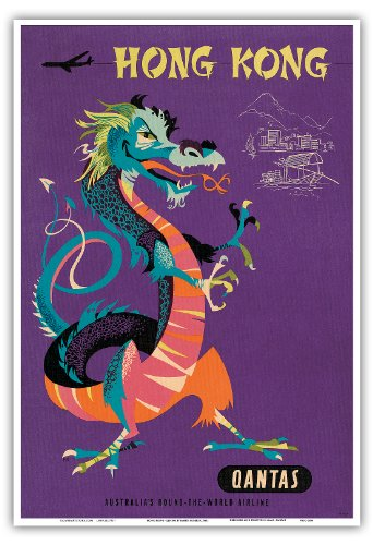 hong-kong-qantas-airways-dragon-chinois-au-tresor-vintage-airline-travel-poster-by-harry-rogers-c196