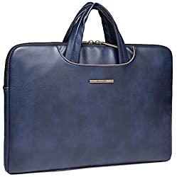 Canvaslife Blue Pu Leather Laptop Briefcase for Macbook Air 11 Macbook 12 Macbook Air 13 Macbook Pro 13 and 11.6 Inch 12.5 Inch 13.3 Inch Dell Hp Lenovo Sony Toshiba Ausa Acer Samsung Laptop Case