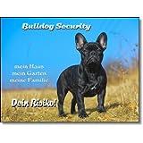Französische Bulldogge Security Warnschild - Schild aus Aluminium 15x20cm ( 01 )