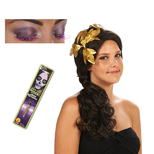 [Greek Goddess Adult Wig with Gold Piece Eyelashes and Makeup Bundle Set] (Roman Goddess Accessories)
