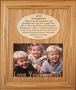 8×10 GREAT GRANDPARENTS Laser Photo & Poetry Frame ~ Holds a Landscape 5×7 Picture/Photo ~ Wonderful Gift for Great Grandma & Grandpa on Grandparents Day, Birthday, Christmas from Great Grandchildren/Great Grandkids!
