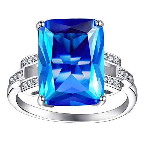ZENI Women Rings Blue Sapphire Rings 925 Sterling Silver Rings Jewelry with Luxury 9 CT for Women (8) (Silver Rings With Crystal Stone compare prices)