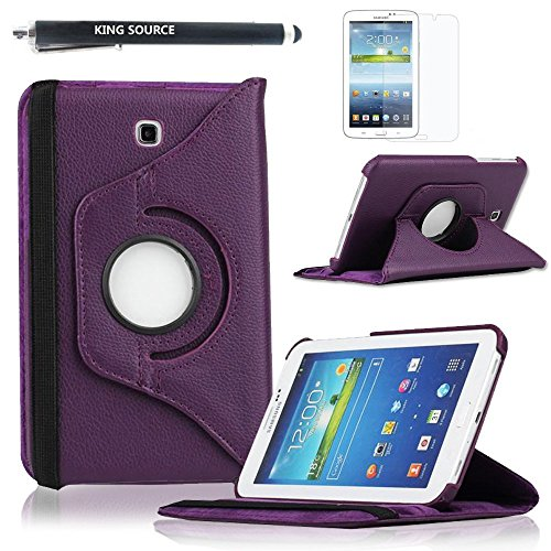 Kingsource (TM) 360 Rotating Leather Stand Case Cover for Samsung Galaxy Tab 3 7.0 SM-T210R and SM-T217S 7-Inch P3200 Tablet with 1 Screen Protector, 1 Stylus and Microfiber Digital Cleaner color purple