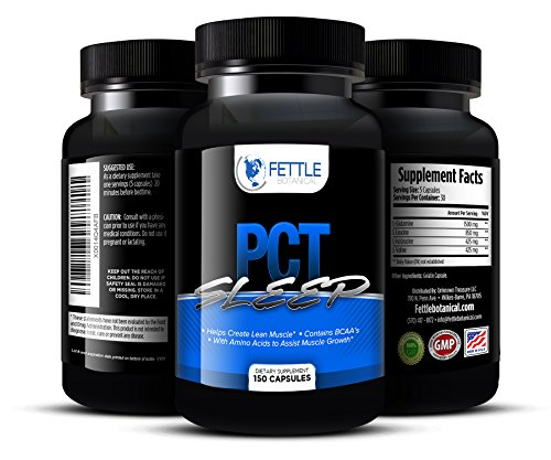 Pct Sleep Post Cycle Supplement Amino Acid Complex BCAA 3200mg Post Cycle Support Sleep Aid For Recovery Muscle Gain 30 Day Cycle Supplement Top Rated PCT Fettle Botanical 150 capsules (The Sleep Cycle compare prices)