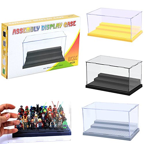 3 Steps Acrylic Minifigures Building Blocks Display Box Showcase Self-Assembly Cabinets Plastic Bricks Base Plate
