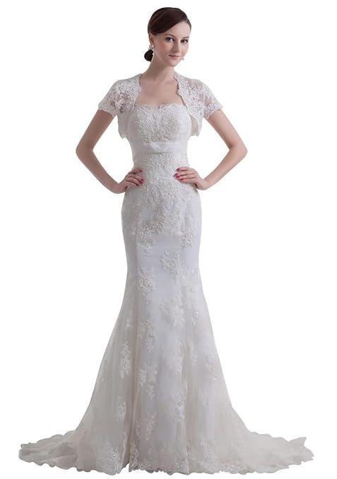 GEORGE BRIDE luxury vintage capped sleeves mermaid lace Wedding dress