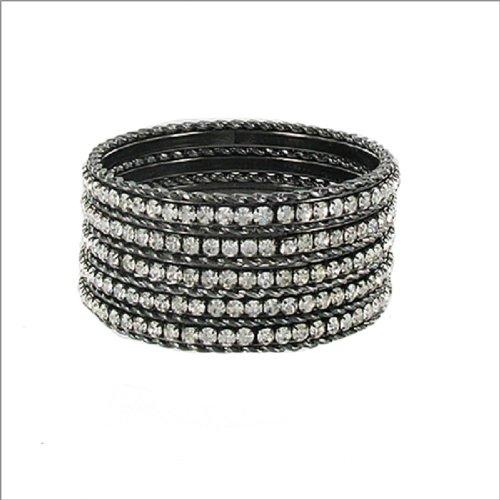 JOA Twist Texture & Stone Bangle Bracelet #040495