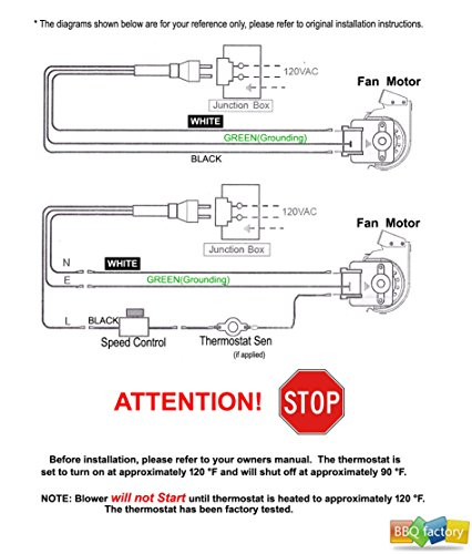 bbq factory BKT GA3650T GA3650TB GA3700T GA3700TA Fireplace Blower Fan KIT for Desa, FMI, Vanguard, Vexar, Comfort Flame Glow, Rotom