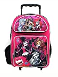 "Monster High Roller School Backpack 16"" Large Pink Rolling Bag - Stitched Pink"