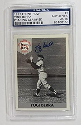 Yogi Berra Signed New York Yankees Card Front Row 92 PSA/DNA #5