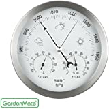GardenMate® Weather Station 3in1 Stainless Steel Frame Ø 14 cm Barometer Thermometer Hygrometer