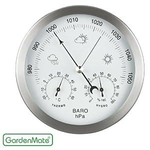 GardenMate® Station météo analogique Ø 14 cm baromètre thermomètre hygromètre, cadre en acier inox