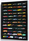 Hot Wheels Matchbox 1/64 scale Diecast Display Case Cabinet Wall Rack w/UV Protection -Black