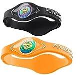 Power Balance Silicone Sports Wristbands-Black-PB-Neon-Orange-S-Pack-of-2