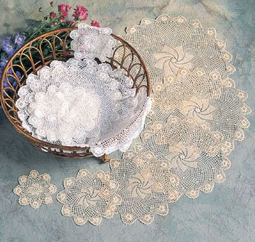 sun flowers style doilies - crochet lace - round - square - heart