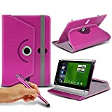 Acer Iconia Tab A500 ( Hot Pink ) Tablet Luxury 360° Rotating PU Leather Wallet Spring Stand Skin Case Cover & Capacitive Touch Stylus Pen by ONX3