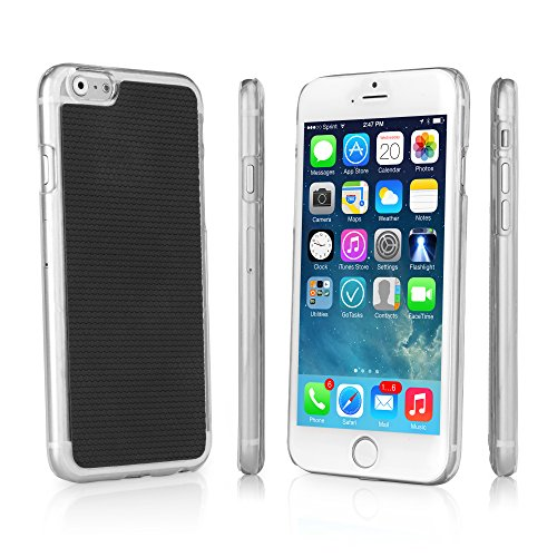 BoxWave GeckoGrip iPhone 6 Plus Case - Slim Fit Snap Clear Shell Cover with Smooth Rubberized Pebble Texture Back (Black)