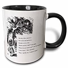 3dRose Which Road Do I Take Cheshire Cat Alice in Wonderland John Tenniel Two Tone Black Mug, 11 oz, Black/White